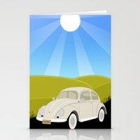 Retro Volkswagen Bug - Sunrise Stationery Cards
