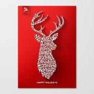 Happy Holidays - Deer Canvas Print