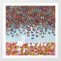bunnies, flowers, and butterflies Art Print