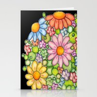 Colorful Orb On Black Stationery Cards