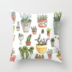Potted Succulents Throw Pillow