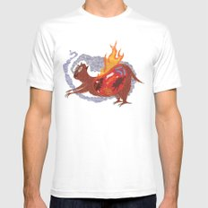 BEAST EATING MONSTER  White SMALL Mens Fitted Tee
