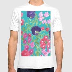 Blue Floral Print Mens Fitted Tee SMALL White
