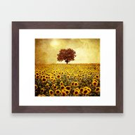 Framed Art Print featuring Lone Tree & Sunflowers F… by Viviana Gonzalez