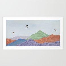Flying over pastel range Art Print