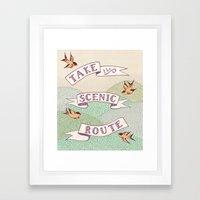 Take the Scenic Route print Framed Art Print