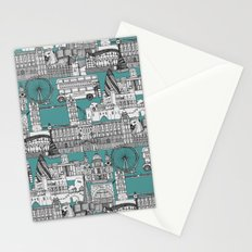 London toile blue Stationery Cards