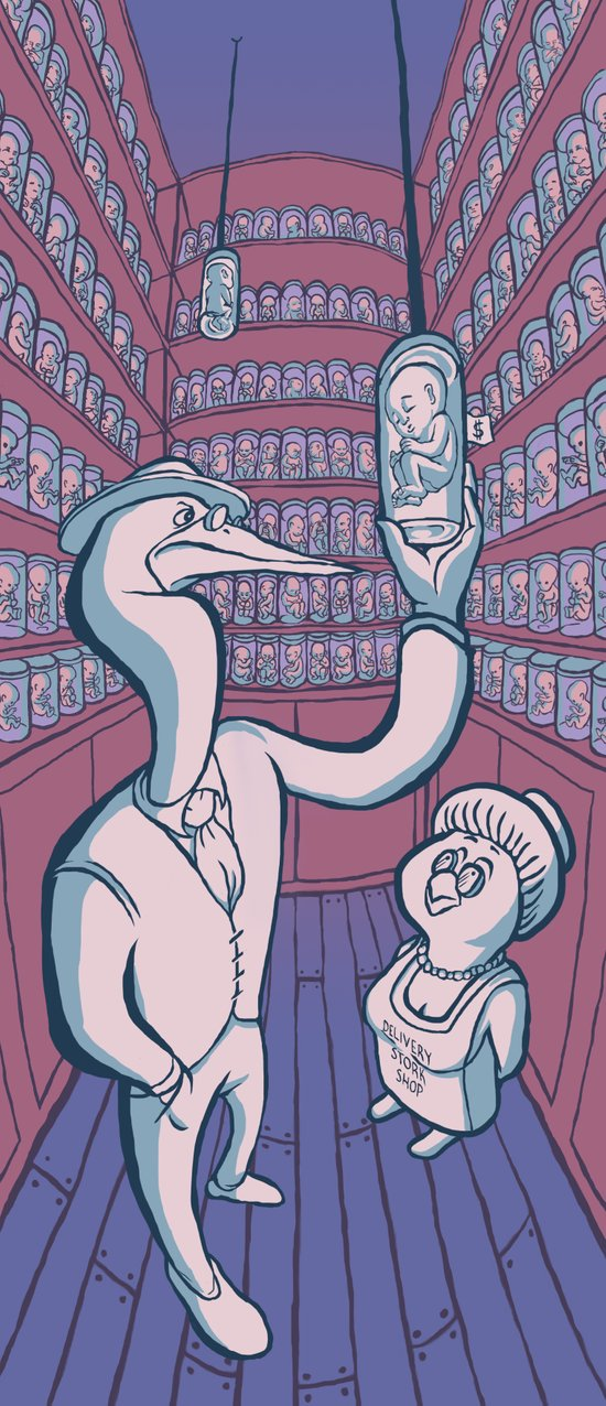 Delivery Stork Shop Art Print
