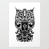 The Old Owl  - Black Art Print