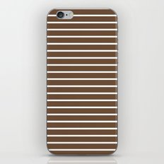 Horizontal Lines (White/Coffee) iPhone & iPod Skin