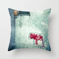 Big 'S' with window, pipe and red spray Throw Pillow
