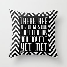 Zigzag pattern black (friendship quote) Throw Pillow