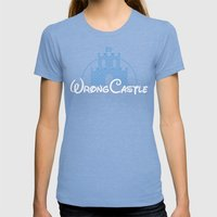 Wrong Castle Womens Fitted Tee Tri-Blue SMALL