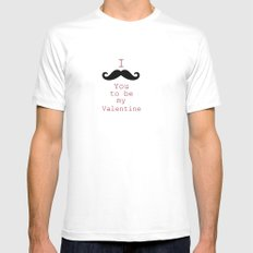 Moustache White Mens Fitted Tee SMALL