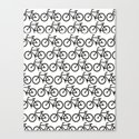 Bicycle Stamp Pattern - Black and White - Fixie Fixed Gear Bike Canvas Print