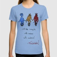 unite! and ride unicycles with unicorns with unibrows! Womens Fitted Tee Athletic Blue SMALL
