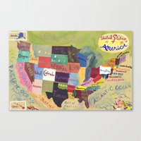 United States Map  Canvas Print