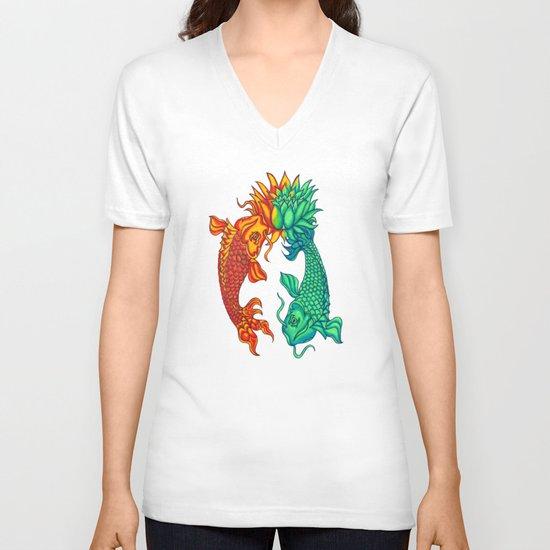 Koi Fish Lotus V-neck T-shirt