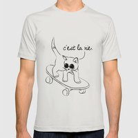 CARELESS CAT - C'EST LA VIE Mens Fitted Tee Silver SMALL