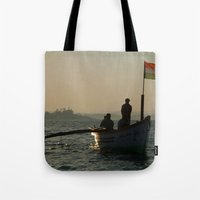 Dolphin Boat with Indian Flag Palolem Tote Bag