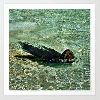 SEA LION in AQUATIC DREAMING WORLD  Art Print