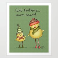 Two Chicks - Green Art Print