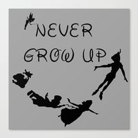 Never Grow Up - Inspired by Peter Pan Canvas Print