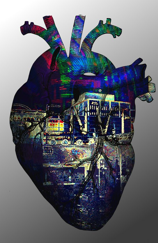 Denver in a Glitched Heart Art Print