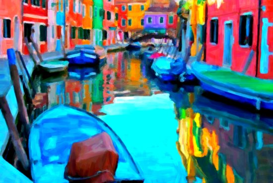 Colors In Venice - Painting Style Canvas Print