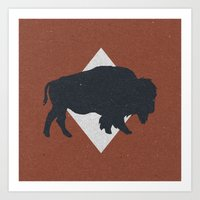 Bison & Blue Art Print