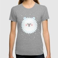 Sleeping Polar Bear Womens Fitted Tee Tri-Grey SMALL