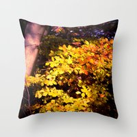 Yellow Fall Leaves Throw Pillow