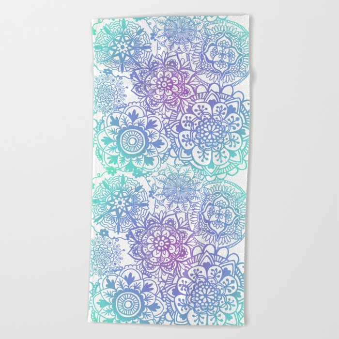 pastel mandala pattern beach towel