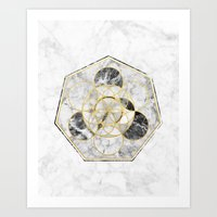 Marble & Gold Geometry / Heptagon Art Print