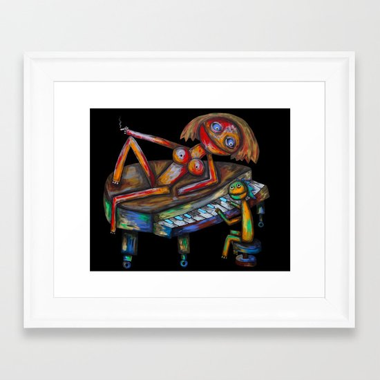 Every morning Jack plays the piano! Framed Art Print
