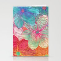 Between the Lines - tropical flowers in pink, orange, blue & mint Stationery Cards