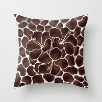 Hibiscus Animal Print Brown Throw Pillow