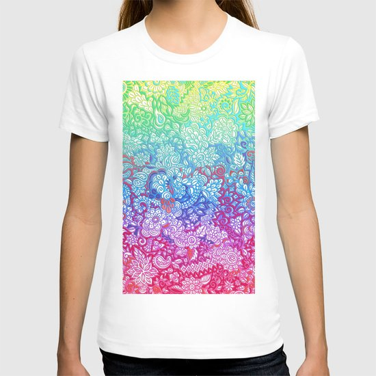 Fantasy Garden Rainbow Doodle T-shirt