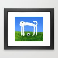 Skinny Cat With Soccer B… Framed Art Print