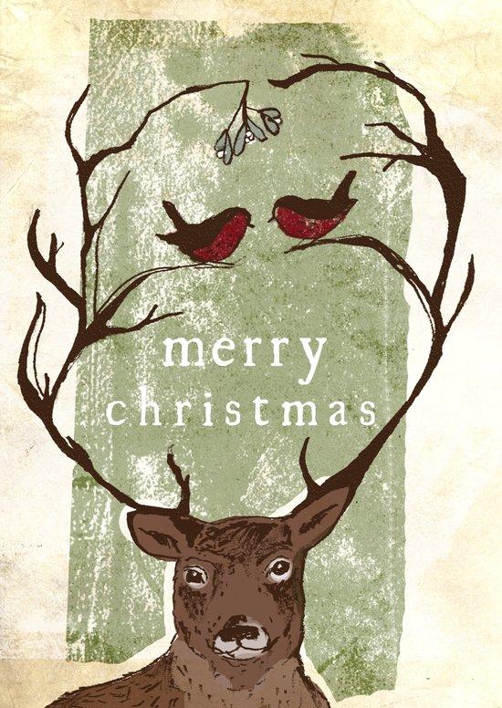Reindeer Mistletoe Christmas Card Art Print