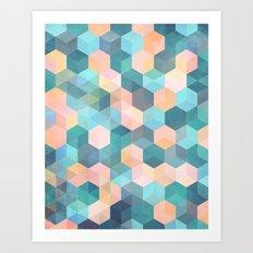 Child's Play 2 - hexagon pattern in soft blue, pink, peach & aqua Art Print