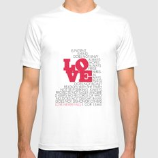 LOVE. 1 Corinthians 13:4-8. White Mens Fitted Tee SMALL