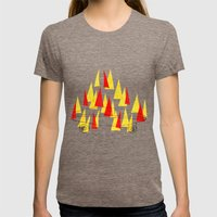 Flaming Skateboard Womens Fitted Tee Tri-Coffee SMALL