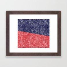 Spiderwebs - Webs on Red and Navy Blue Framed Art Print