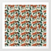 Fox Hunting Rabbits  Art Print