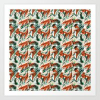fox hunting rabbits  Art Print