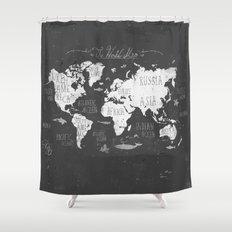 The World Map B/W Shower Curtain