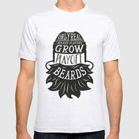 Only Real Hockey Players Grow Play Off Beards Mens Fitted Tee Ash Grey SMALL