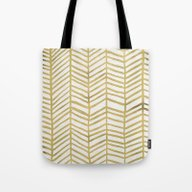 Gold Herringbone Tote Bag
