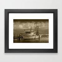 Sepia Tone of the Fishing Boat Miss Ash at Aransas Pass Harbor Framed Art Print